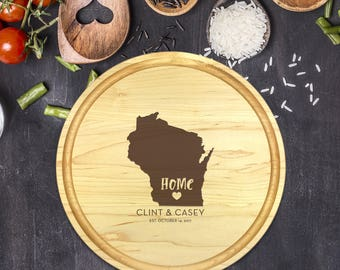 Custom Cutting Board Round - State Cutting Board, Wedding Gift, Personalized Gift, Housewarming Gift, Anniversary Gift, Christmas, B-0017