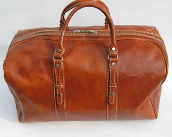 Enzo Olletti Tan Leather Weekender Cabin Travel Bag