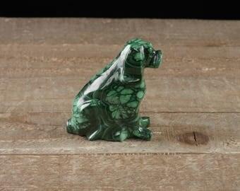 2.2 inch MALACHITE Dog Stone Carving - Malachite Carving, Malachite Dog, Malachite Crystal, Malachite Crystal Dog, Dog Carving 36768