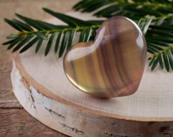 One Small FLUORITE Stone Heart - Fluorite Crystal Heart, Healing Stone, Fluorite Chakra Crystal Heart, Rainbow Fluorite Heart E0661