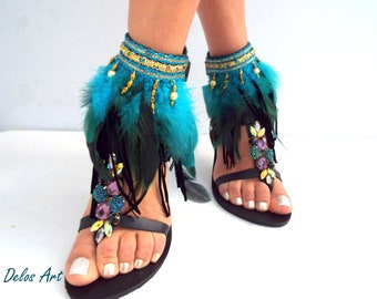 "Native America, Black & turquoise, Tall gladiator sandals, ""Lagoon'  Leather sandals, brown feather sandals, festival shoes,  boho sandals"