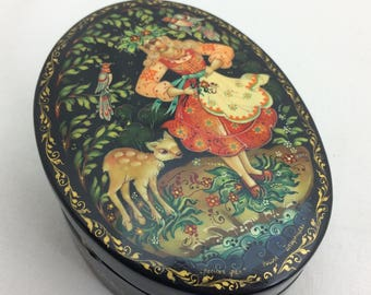 Hand Painted Box, Made in Russia, Maiden and Fawn