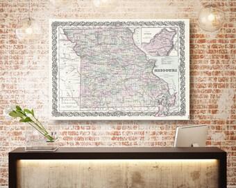Missouri State Map, Missouri Map Canvas, Antiqued Missouri Map, Canvas Wall Decor, Missouri Wall Decor, Map of Missouri Canvas