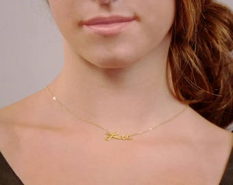 Dainty Faith Necklace, Script Faith Necklace  • Faith Necklace in Gold, Silver, Rose Gold by INFINI168, I168-110P