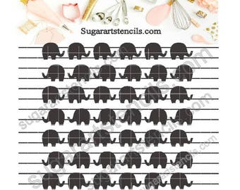 Elephants cookie stencil background C5036
