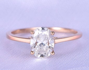 Rose Gold Moissanite Engagement Ring 6X8mm Oval Cut Moissanite Bridal Ring Plain Gold Wedding Band Solitaire Ring 14k/18k Available