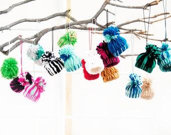 Yarn Hat ornament, Ornaments for kids, Stocking stuffer for kids, Cute Christmas ornament, Teacher gift idea, Christmas ornament, Gift tag