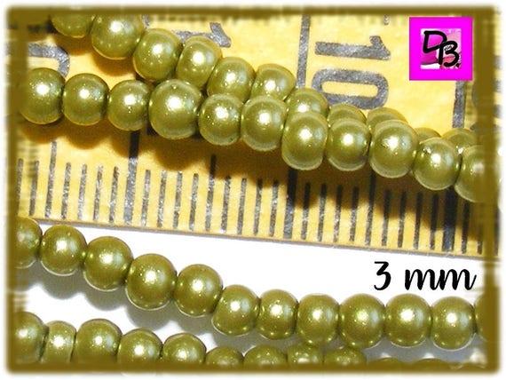 25 perles nacrées [DarkOlivine] 3 mm