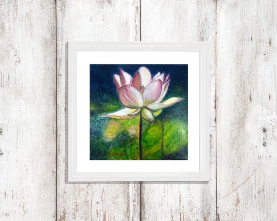 Gouache painting, white lotus, OOAK, original picture on canvas, living room decoration, wall art, contemporary art, special gift for her.