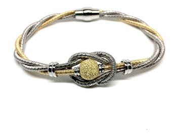 Luxury women jewellery - 925 Sterling Silver Italian Golden and metallic Silver Bracelet with Magnetic Closure. 8 inches - Gift box included
