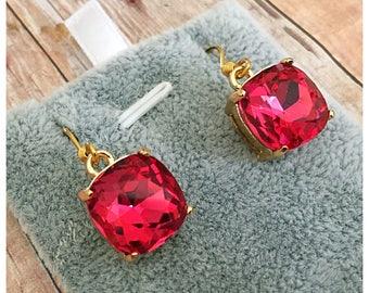 Fuchsia Glass Earrings, Pink Earrings, Sparkle Earrings, Drop Earrings, Glass Crystal, Dangle Earrings