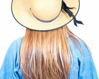 1940s Wide Brim Straw Sun Hat - Size 22