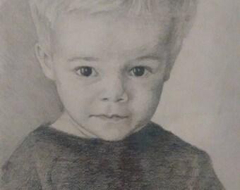 "Custom pencil and paper portrait 8""x10"""