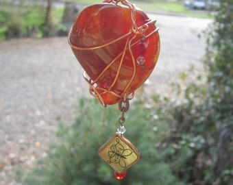 Large Fire Red Agate - Hope Sun Catcher - # 23