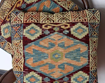 Pair  Pillows in a kilim style tapestry - boho throw pillows