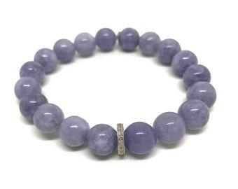 Blue angelite gemstone and 0.22 carat real diamond bracelet