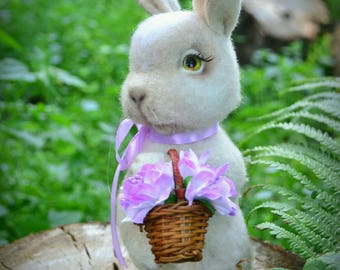 Needle Felted bunny Felt rabbit Wool felting miniature Needle felting animals Hand felt animal  Woolen toy Eco cute bunny Felted sculptures