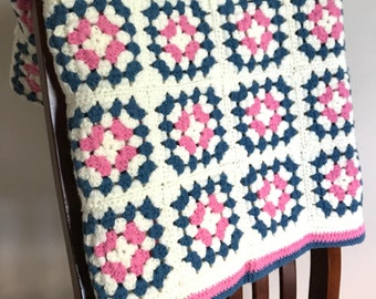 Hand Crocheted Vintage Granny Square Afghan — ready to ship! pink blue granny square