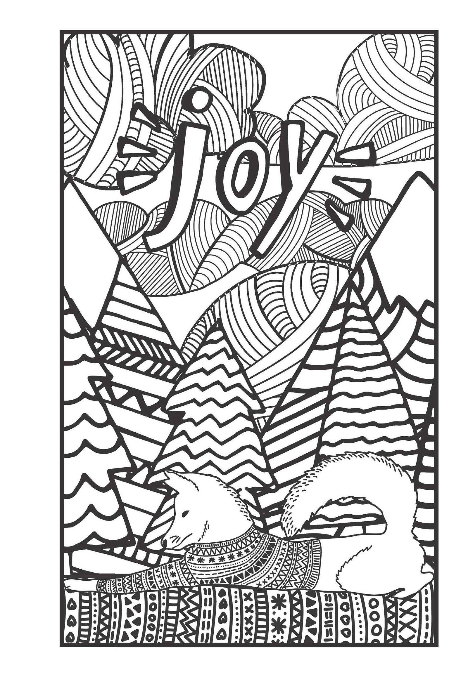 Adult Holiday Coloring Greeting Cards - Worksheet & Coloring Pages