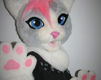 Domestic cat fursuit partial, feline fursuit head, fursuit for a girl, premade fursuit