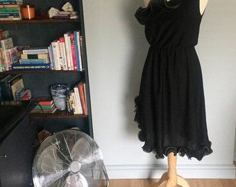 Vintage One Shoulder Disco Party Wedding Festival Ruffle Black Dress Frill