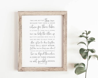Bible Verse Print - Ecclesiastes 4:9-12 - Two Are Better Than One - Gifts Under 20 - Anniversary Gift - Home Decor - Frame Not Included