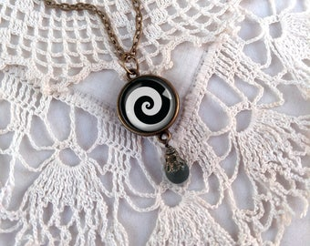 Black and White Spiral Necklace