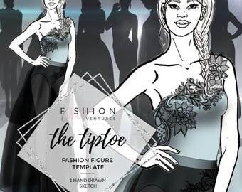 The Tiptoe | Fashion Template, Fashion Illustration, Croquis, Fashion drawing