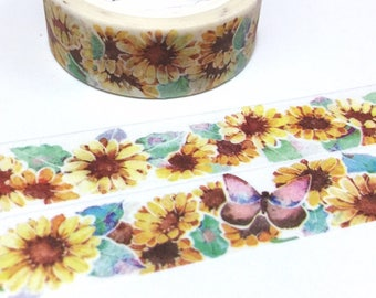 sunflower washi tape 7M yellow flower butterfly sticker flower garden planner sticker tape flower trim flower diary flower book decor