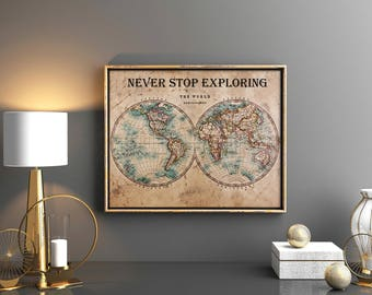 World map print etsy vintage world map print vintage world map printable vintage world map download world map world art gumiabroncs Gallery