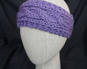 Purple Hand Knit, Cabled Headband; Baby, Toddler, Kid