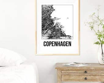 Copenhagen City Map Print - Black and White Minimalist City Map - Copenhagen Map - Copenhagen Art Print - Many Sizes/Colours Available