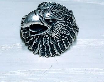Silver Bald Eagle Biker Ring BJ-7