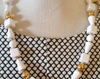 "Vintage Trifari White Beaded Statement Necklace Geometric Beads 25"""