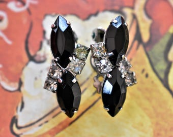 Vintage Black Marquise Rhinestone Clip On Earrings Silver Tone Delicate Retro Costume Jewelry 1.25""