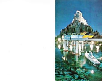 Vintage 60s Disneyland Anaheim CA Amusement Park Postcard Matterhorn Mountain Tomorrowland Monorail Mid Century Travel Souvenir