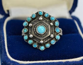 Vintage Solid SILVER & Real TURQUOISE Ornate Target Hexagonal Statement RING - M / Us 6.25