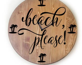 """Wall Clock, Large 18"""" Wall Clock, Over Sized Clock, Unique Wall Clock, Rustic Wall Clock, Personalized Wall Clock, Gift For,  Beach Decor"""