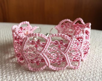 Handmade pink micro macrame bracelet with 0.4 mm thread