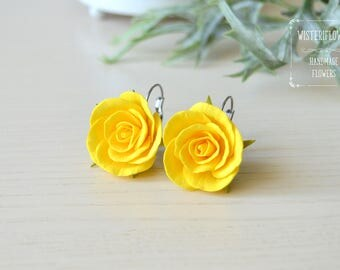 Yellow rose earrings Yellow Wedding Earrings for girls Yellow flower jewelry Bridesmaids earrings Flower earrings Yellow Rose jewelry gift