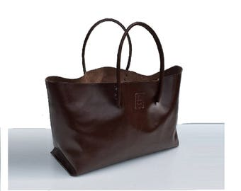 Large leather shopper Ledershopper, XXL leather bag shopping bag for bulk purchase, Brown handmade
