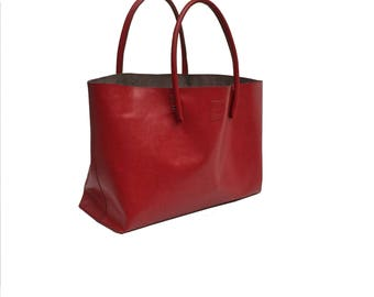 Large Leather bag XXL shopper Einkaufsshopper Leather Red handmade