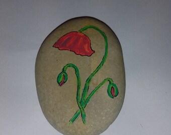 handmade Pebble painted poppy