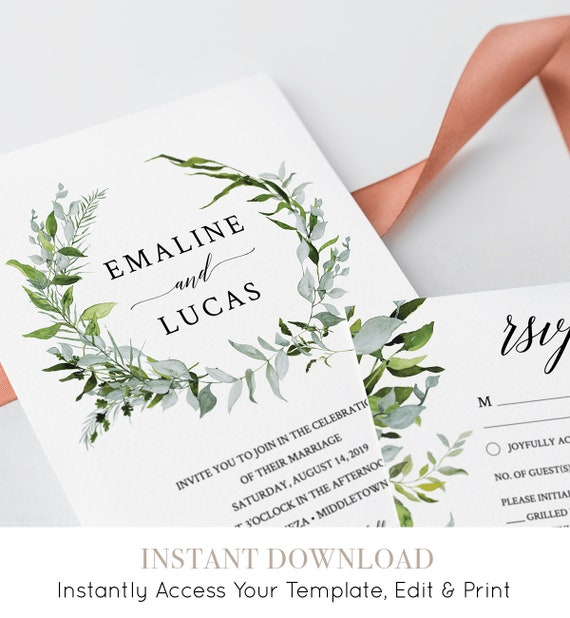 Greenery Wreath Wedding Invitation Suite, INSTANT DOWNLOAD, 100% Editable Invite, RSVP & Details Card, Printable, Watercolor, Templett #016A