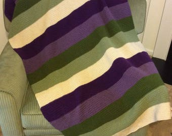 Homemade Crochet Afghan - Colors: Eggplant, Dusty Purple, Olive, Dusty Green and Beige