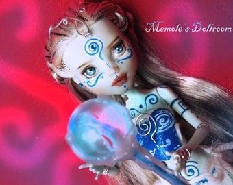 "Monster High OOAK repaint custom doll ""Greek Priestess of the Agean Sea"""