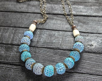 Turquoise Necklace Statement Necklace Boho Jewelry Long Boho Necklace Blue Beaded Necklace Beaded Chain Necklace Blue Beads With Chain