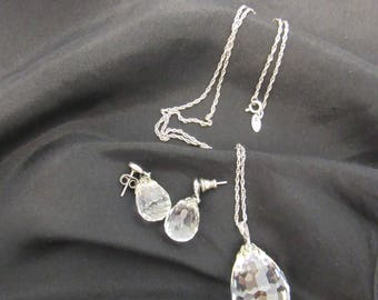 Sarah Coventry Necklace, Earrings, Crystal Necklace, teardrop crystal earrings