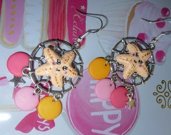 Sterling silver earrings 925 Silver Dreamcatcher star sea kawaii Fimo polymer clay beads lozenge star charm