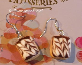 Sterling silver 925 earrings Yarrow Fimo polymer clay cake pastry